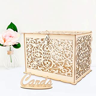 E-Eternity DIY Wedding Card Box with Lock and Card,Wooden Hollow Wedding Money Box for Reception Wedding Anniversary Baby Shower Birthday Graduation Party Decorations (Large)