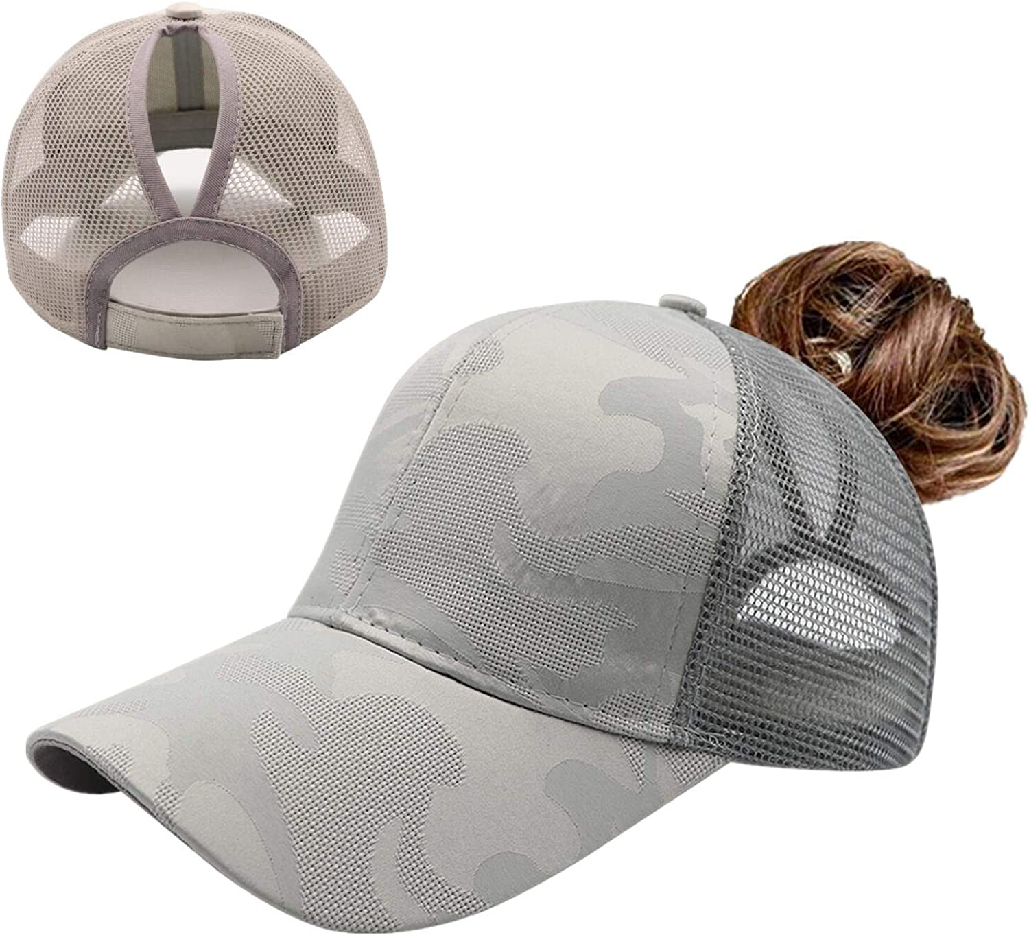 ProMindFun Womens Pony Hat High Ponytail Baseball Cap Girls Messy Bun Caps Camouflage Trucker Bad Hair Day Adjustable Dad Hat