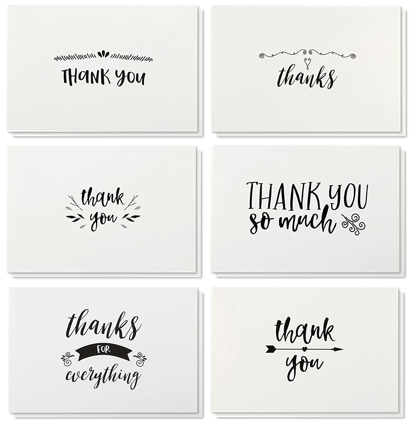 Thank You Cards - 48-Count Thank You Notes, Kraft Paper Bulk Thank You Cards Set - Blank on The Inside, Handwritten Style - Includes Thank You Cards and Envelopes, 4 x 6 inches