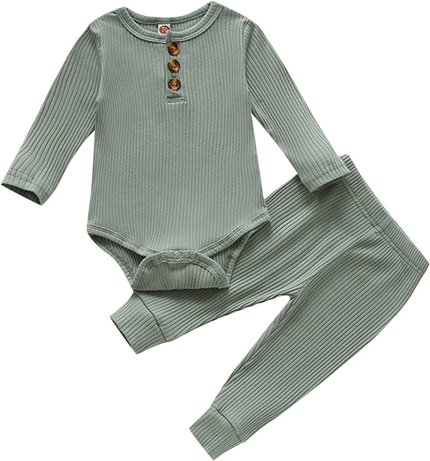 Baby Girl Clothes Newborn Ribbed Romper Pants Infant Girl Outfits Baby Girl's Pant Set