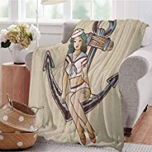 Luoiaax Anchor Comfortable Large Blanket Pinup Girl with Sailor Outfit Shark and Heart Tattoo Vintage Twenties Illustration Microfiber Blanket Bed Sofa or Travel W70 x L90 Inch Multicolor