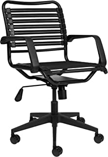 Bungee Office Task Chair, with Flat Elastic Bungie Straps, Adjustable Height (Black)