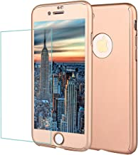 iPhone 8 Case,iPhone 7 Case Full Body Shockproof Protective Hard PC Case Ultra Thin Light Anti Scratch Dual Layer Removable Hybrid Cover with Tempered Glass Screen Protector for iPhone 8 (gold-78)