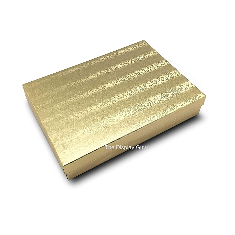 Regal- 10 of Pack Cotton Filled Gold Foil Box Jewelry Gift and Retail Boxes 5.25 X 3.75 X 1 Inch Size