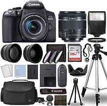 Canon EOS 850D / Rebel T8i Cuerpo de la cámara réflex digital con Canon EF-S 0.709-2.165in f/4-5.6 es STM lente 3 lente DSLR kit paquete completo de accesorios + 128GB + flash + funda y más, modelo internacional