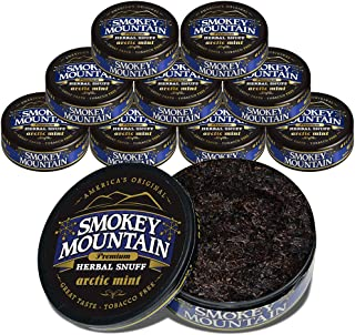 Smokey Mountain Herbal Snuff - Arctic Mint - 10-Can Box - Nicotine-Free and Tobacco-Free - Herbal Snuff - Great Tasting & Refreshing Chewing Tobacco Alternative