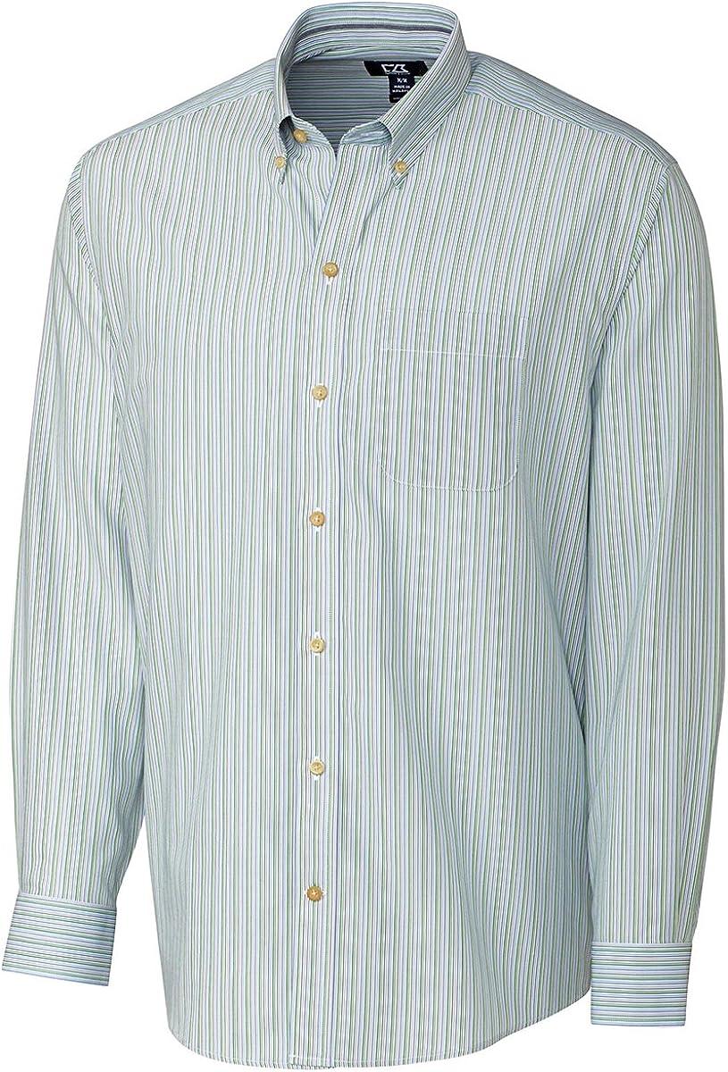 Cutter & Buck Men's Long Sleeve Cypress Wrinkle Free Stripe