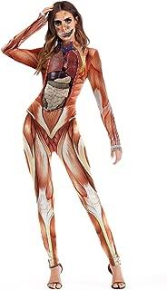 Timemory Women Halloween Skull Costume Printing Skeleton Cosplay Jumpsuit Romper