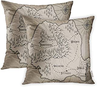 Emvency Set of 2 Abstract Old Fantasy Romania Map Ancient Antique Bucharest Cartography Throw Pillow Covers 16x16 Inch Decorative Cover Pillowcases Two Side