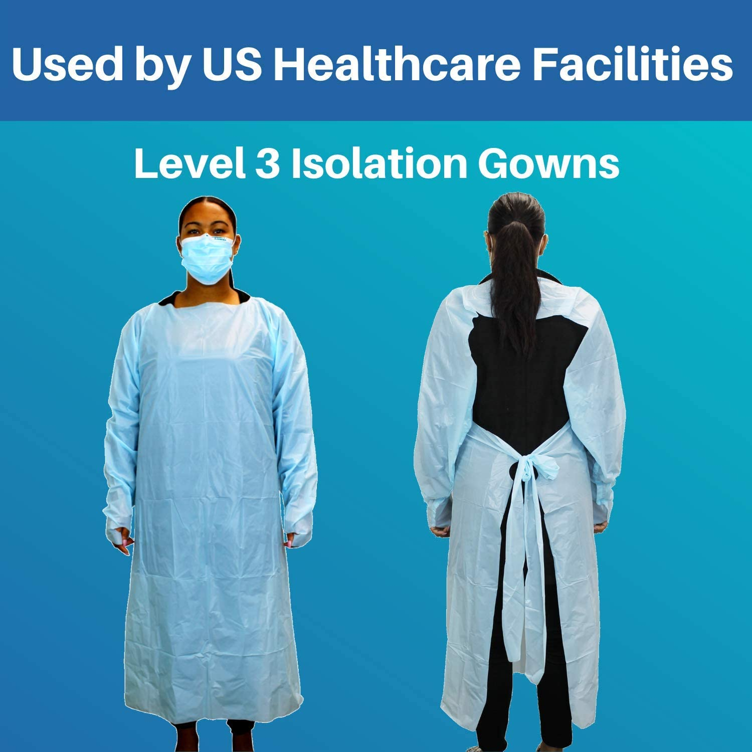 By Cleanis Universal Size Level 3 and Fluid Resistant Pack of 100 Thumb Loops and Back Tie Lightweight and Latex Free Disposable Isolation Gowns