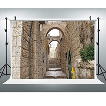 CSFOTO 10x8ft Jerusalem Old Narrow Street Backdrop Afternoon Night Spring Flowers Background for Photography Wedding Party Supplies Adults Kids Photo Booth Wallpaper