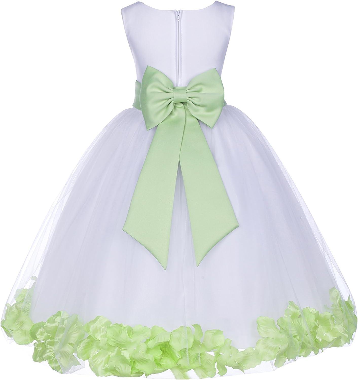 White Challenge the lowest price Tulle Rose Petals Junior Christening Dresses D SALENEW very popular! Flower Girl
