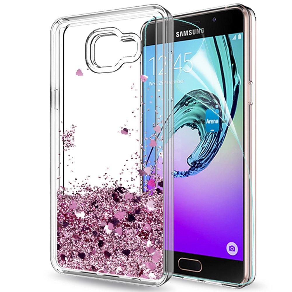 LeYi Funda Samsung Galaxy A5 2016 Silicona Purpurina Carcasa con HD Protectores de Pantalla,Transparente Cristal Bumper Telefono Gel TPU Fundas Case Cover Para Movil Samsung A5 2016 (A510) ZX Oro Rosa: Amazon.es: