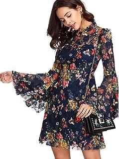 ROMWE Damen Elegant Sommerkleider mit Blumen Druck Muster A-Linie Urlaub Party Kleider