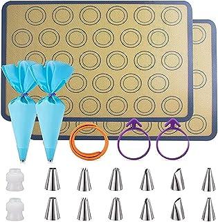 Tapis de Cuisson Silicone, Tapis Macarons Set- Ensemble de 21 pièces 2 Tapis de Cuisson pour Patisserie en Silicone antiad...