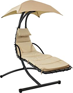 Sunnydaze Floating Chaise Lounger, Outdoor Hanging Hammock Patio Swing Chair with Canopy and Arc Stand, Beige