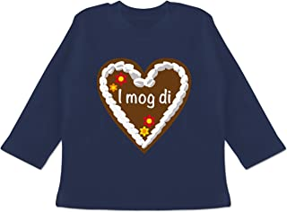 Shirtracer Oktoberfest & Wiesn Baby - Lebkuchenherz I mog di - 3/6 Monate - Navy Blau - i mog di Shirt - BZ11 - Baby T-Shirt Langarm