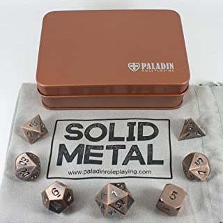 Paladin Roleplaying Bronze Metal Dice - Full Polyhedral Set in Presentation Tin