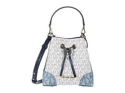 MICHAEL Michael Kors Mercer Gallery Extra Small Convertible Bucket Crossbody (Navy Multi) Cross Body Handbags