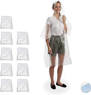 Relaxdays 雨篷 10 件套,带帽,一次性雨披,适合成人,中性雨罩,PE 透明 10er Set 10024126_50