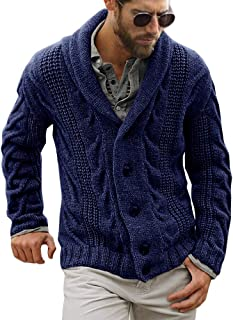Bbalizko Mens Shawl Collar Cardigan Sweaters Cable Knitted Button Down Chunky Sweater Outwear