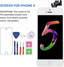 """MAFIX Full Assembly Screen Replacement for iPhone 5, 4.7"""" [White] with Home Button, Front Camera,Earspeaker & Proximity Sensors-LCD Display Digitizer Touch Screen Repair Kits,Fit Model A1428/A1429"""