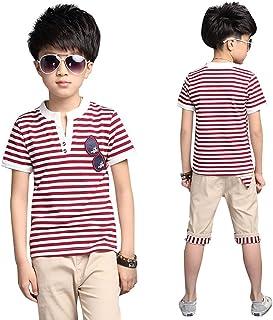 セットアップ 男の子 子供服 2点 Tシャツ ハーフパンツ 半袖Tシャツ 半ズボン 男の子 ボーイズ 夏服 上下セット ストライプTシャツ