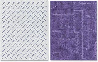 Sizzix 657848 Texture Fades Embossing Folders, Diamond Plate & Riveted Metal Set by Tim Holtz, 2-Pack, Multicolor