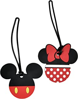 2 Pack Disney Luggage Suitcase Tags Mickey & Minnie Mouse Body/Pants PVC