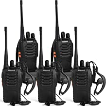 Greaval Rechargeable Walkie Talkies for Adults Long Range with Earpiece 5 Pack UHF 400-470Mhz Two-Way Radios Li-ion Battery and Charger Included