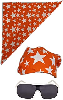 Colored Stars Bandana White Sunglasses for Macho Man Costume (Orange,starscombo-Orange)