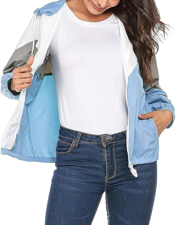 Womens Rain Jacket Hooded Waterproof Zip Up Coat Lightweight Color Block Casual Fashion Elastic Cuff Sleeve Outwear