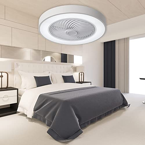lowest PASUTO 19 Inches Round Ceiling Fan with Light, Remote Control Dimming and Low Profile Ceiling Fans, 3 Speed Options for Living room, Bedroom, discount Dinning online Room(White) sale