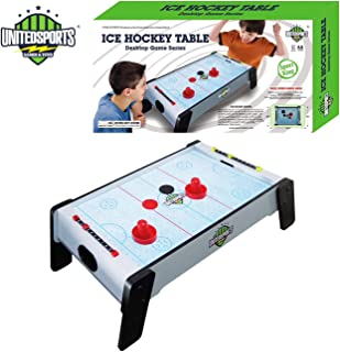 Kidmoro United Sports Wooden Air Hockey Table Game, White, 20-inches