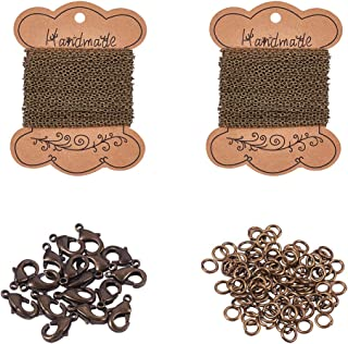 PH PandaHall 5 Yards Iron Twisted Curb Link Cable Chains Necklace, 5 Yards Iron Cross Chain with 20 Lobster Claw Clasps and 100 Jump Rings for Jewelry Making, Antique Bronze