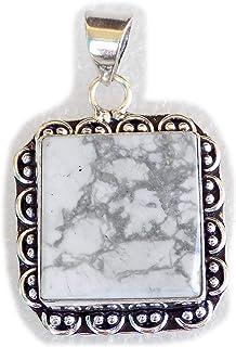 Howlite Pendant, Silver Plated Brass Pendant, Handmade Pendant, Gift Jewelry, Women Jewellry, Fashion Jewellry, BRS-12343