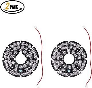 48 LED 850nm IR Infrared Illuminator Board 90 Degree Round Plate IR Illuminator Board Bulb for CCTV Security Camera(2Packs)