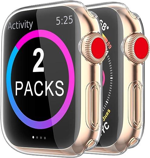 حافظة BRG لساعة Apple Watch Series SE 6 5 4 3 واقي شاشة 40 مم 44 مم 38 مم 42 مم ، [عبوتان] غطاء حماية كامل شفاف عالي الدقة من البولي يوريثان الحراري الناعم عالي الجودة وفائق النحافة