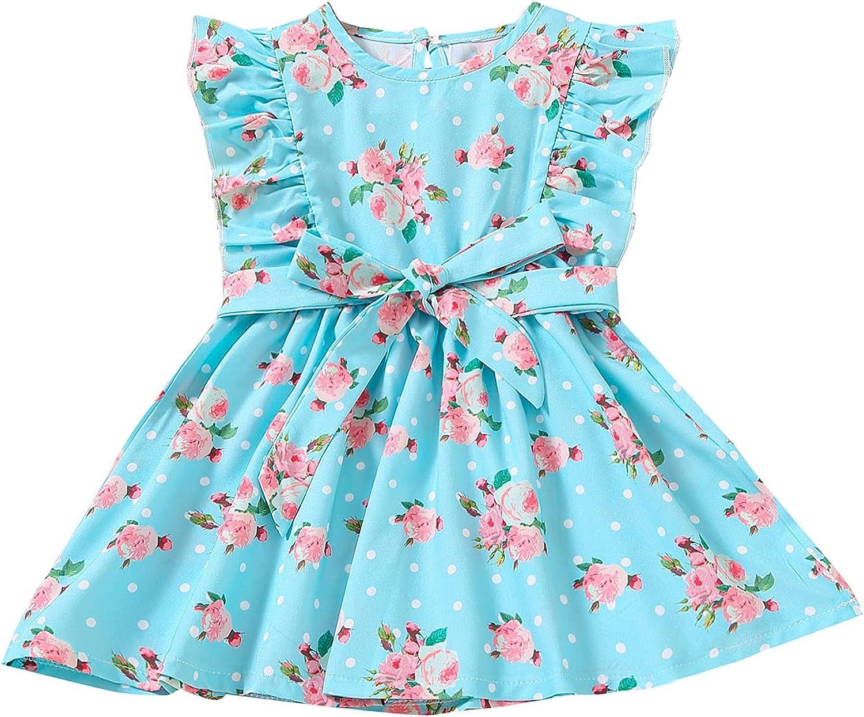 JUNLIN Princess Dresses for Girls Ruffled Sleeve Bow Flower Mini Cute Dress Button Closure