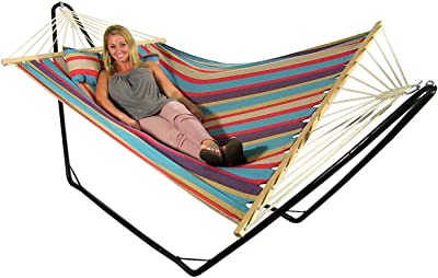 Sunnydaze Hammock Cotton Fabric w/Spreader Bar and Detachable Pillow, Indoor/Outdoor Use, 300 Pound Capacity, Wildberry