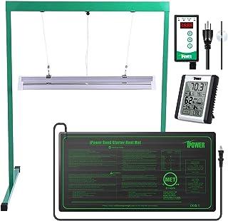 """iPower GLSEEDGERMSETT52FHTMTSCV2H 2 Ft T5 Grow Light Stand Rack 10"""" x 20.5"""" Heat Mat with Digital Controller,Indoor Hygrom..."""