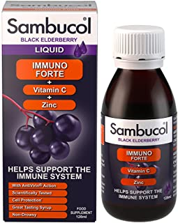 Sambucol Immuno Forte Black Elderberry Liquid with Vitamin C & Zinc, 120ml