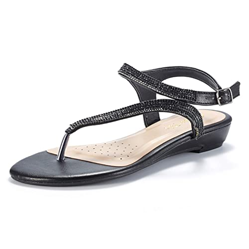 ce1595a31f DREAM PAIRS Women's Estelle_W Fashion Rhinestones Low Wedge Sandals