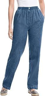 Women's Plus Size Elastic-Waist Cotton Straight Leg Pant