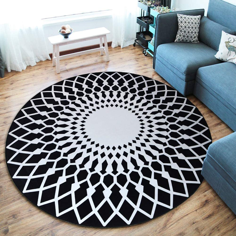 YAYONG Round Sales for sale Rug Geometry 3D depot Print Baby Living Room Dining Soft