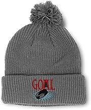 Custom Pom Pom Beanie Goal Hockey Embroidery Acrylic