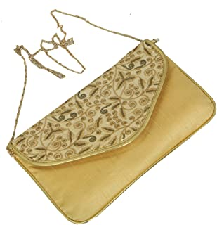 Kuber Industries Silk Elegant Clutch Evening Handbag with Chain, Golden (BG0129)