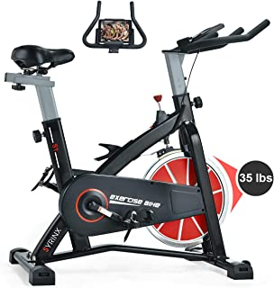 SYRINX Indoor Cycling Bike-Belt Drive Indoor Exercise Bike, Stationary Cycle Bike for Home Cardio Gym Workout (Black)