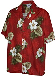 Pacific Legend Men's Hibiscus & Palm Hawaiian Shirt (Black)
