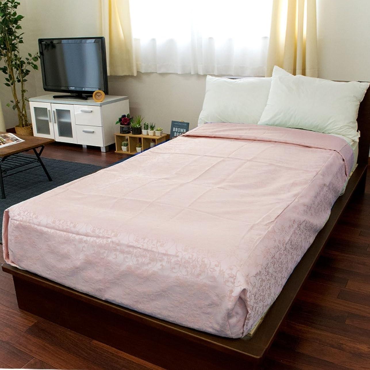 あさり浴神昭和西川 ベッドスプレッド ベッドカバー ダブル 「フラワーラティス」 ピンク 日本製 ホテル ベッドメイク マットレス カバー 約200×260cm